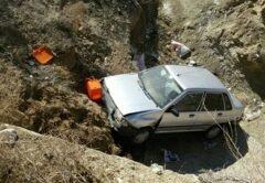 حادثه سقوط پراید در جاده هراز ومصدومیت یک نفر
