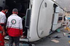 امدادرسانی به مصدومان حادثه واژگونی اتوبوس در محور هراز